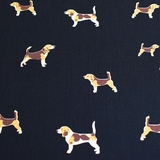 Beagle Dogs on Navy Fabric