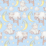 Bedtime Sheep on Blue Flannel Fabric