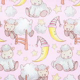 Bedtime Sheep on Pink Flannel Fabric