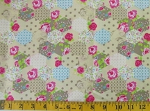 Beige Patchwork Flowers Fabric Cut, Single 145 x 110cm