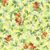 Belle Multi Flower & Leaf on Sunlight Fabric