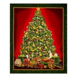Best Time of The Year Metallic Christmas Tree Fabric Panel