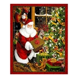 Best Time of The Year Metallic Santa & Christmas Tree Fabric Panel