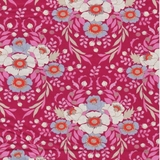 BirdPond Anemone Multicolour on Maroon Fabric