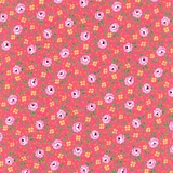 Bliss Multi Floral & Dot on Medium Pink Fabric