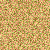 Bliss Pink Floral Vine & Dot on Yellow Fabric
