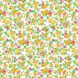 Bliss Yellow Spaced Floral on White Fabric