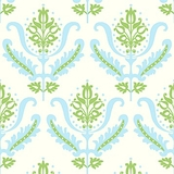 Blue and Green Decorative on White 1 Metre Fabric