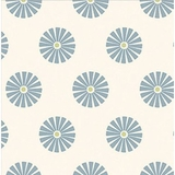 Blue Daisy on White 1 Metre Fabric