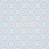 Blue Decorative Floral on White 1 Metre Fabric
