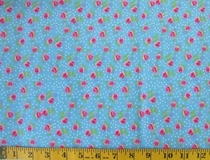 Blue Flowers and Polka Dots C6246 Fabric Cut, Single 145 x 110cm