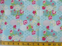 Blue Patchwork Flowers Fabric Cut, Single 145 x 110cm