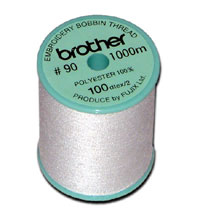 Brother XC5996001/EBTPE | Bobbin Thread | White (P.E. Series) Embroidery Thread