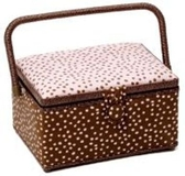 Brown and Pink Spots Sewing Box