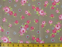 Khaki Flowers Fabric Cut 6245, Single 145 x 110cm