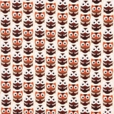 Brown Retro Owls on Cream Fabric
