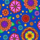 Carnivale Large Multi Flowers on Royal Fabric