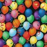 Celebrate Good Times - Multi Balloons on Black Fabric
