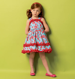 Childrens Girls Dress and Belt Pattern B5914 Size 2,3,4,5