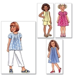 Childrens Girls Top, Dress, Shorts and Pants Pattern B4176 Size 2,3,4,5