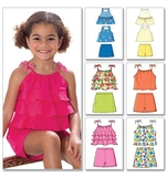 Childrens Girls Top, Skort and Shorts Pattern B4503 Size 2,3,4,5