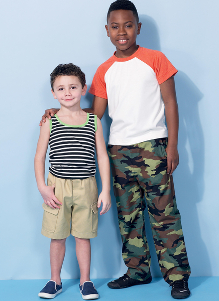 ebf03004 McCalls M7379/CCE | Children's/Boys Raglan Sleeve Tops Tank Top Cargo Shorts  and Pants | Size (3-4-5-6) | Sewing Pattern - Haberdashery Online