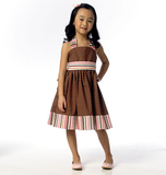 Children's/Girls' Dress and Belt B6038 Sizes 2, 3, 4, 5, 6, 7, 8