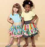 Children's/Girls' Ruffled Colorblock and Patchwork Skirts M7312 Sizes 3, 4, 5, 6