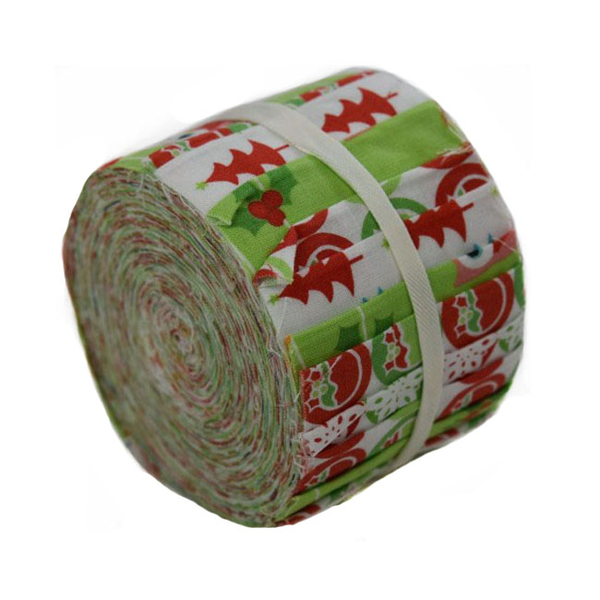 christmas characters green mini jelly roll fabric