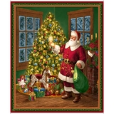 Christmas Eve Santa & Christmas Tree Fabric Panel