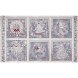 Christmas Holiday Elegance Grey Fabric Panel