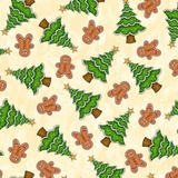 Christmas Trees & Gingerbread Men On Cream Fabric
