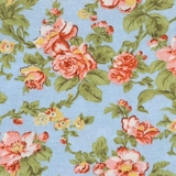 Classic Floral on Light Blue Fabric For Craft & Bag Making