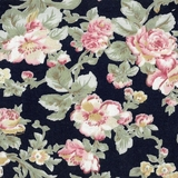 Classic Floral on Navy Fabric For Craft & Bag Making