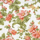 Classic Floral on White Fabric For Craft & Bag Making
