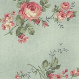 Classic Roses on Green Fabric For Craft & Bag Making