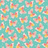Confetti Blossoms Multi Butterflies on Dark Seafoam Fabric
