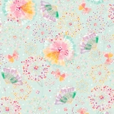 Confetti Blossoms Multi Butterflies & Fan Florals on Light Seafoam Fabric