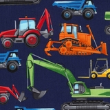 Construction Vehicles in Navy Fabric