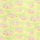 Cotton Tale Farm Pigs on Green Fabric