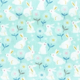 Cottontail Bunnies on Pale Green Fabric