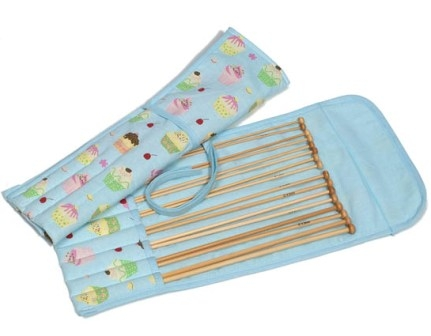 Cupcakes on Blue Bamboo Knitting Pin Set Filled