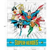 DC Comics II Super Heroes Multi in White Fabric Panel