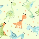 Dino-Mite Baby Dinosaurs on Pale Green Fabric