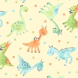 Dino-Mite Baby Dinosaurs on Pale Yellow Fabric