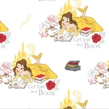 Disney Beauty & The Beast - Lost in a Book on White Fabric