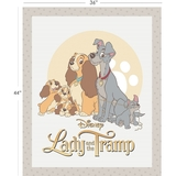 Disney Lady & the Tramp In White Fabric Panel