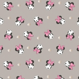 Disney Minnie Mouse Face & Metallic Dots on Grey Fabric