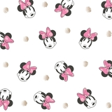 Disney Minnie Mouse Face & Metallic Dots on White Fabric