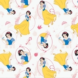 Disney Princess - Snow White on White Fabric